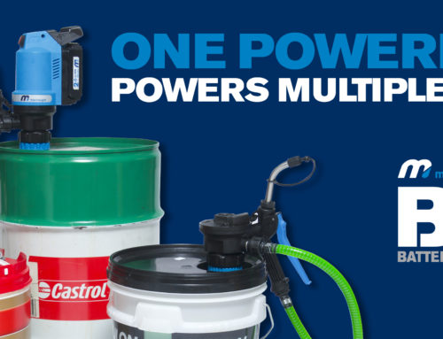THE INDUSTRY'S FIRST BATTERY-OPERATED OIL PUMP – NOW FOR 16-GALLON CONTAINERS – BOP60!